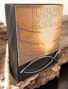 Wood Block Sign/ Scripture Wood Sign/ Sunset by SilverHopeDesigns
