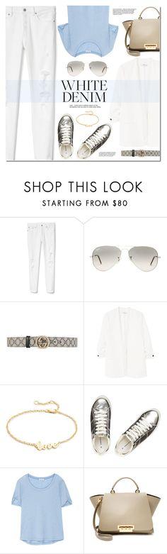 """Bright White: Summer Denim"" by monica-dick ❤ liked on Polyvore featuring Gap, Ray-Ban, Gucci, MANGO, Jennifer Zeuner, Dorothy Perkins, Splendid, ZAC Zac Posen, denim and whitejeans"