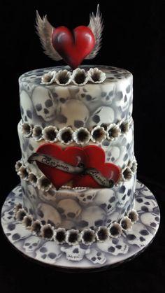 Skull Wedding Cakes, Gothic Wedding Cake, Gothic Cake, Halloween Wedding Cakes, Unusual Wedding Cakes, Halloween Cakes, Skull Cakes, Supernatural Cake, Mascarade Wedding