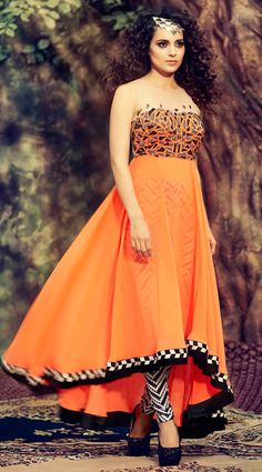 USD 91.45 Kangana Ranaut Salmon Georgette Designer Anarkali Suit 55842