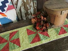 "Antique c1880 Calico Yellow Red Green QUILT Table Runner 37x12"" Farmhouse Prim"