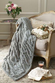 Sofa Covers Pottery Barn Faux Fur Throw Blanket Frosted Taupe NWTs Blanket Cozy and Faux fur throw