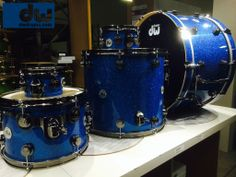 Blue glass with black nickel hardware