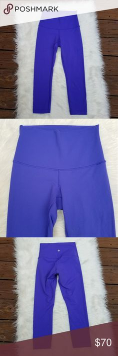 LULULEMON High Times Roll Down Wunder Under Crops LULULEMON High Times Luon Wunder Under Crops with Roll Down Waist. Purple, possibly power purple?  Size 4 lululemon athletica Pants Leggings