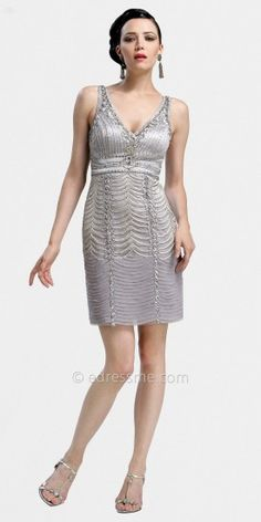 Metallic V-neck Short Cocktail Dresses by Sue Wong