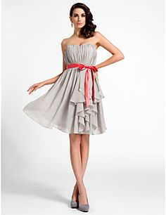 TS Couture® Cocktail Party / Graduation Dress - Short Plus Size / Petite A-line / Princess Strapless / Sweetheart Knee-length Chiffon with Draping  – USD $ 69.99