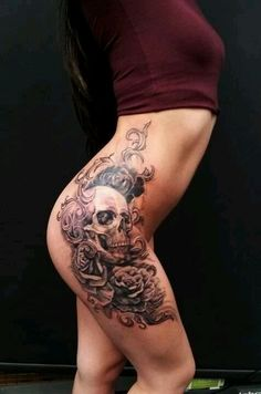 Skull hip tattoo