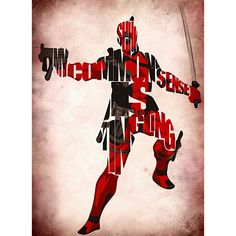 Deadpool Inspired Typographic Poster (€24) ❤ liked on Polyvore featuring home, home decor, wall art, movies, posters, quote posters, movie quote posters, comic book posters, cartoon posters and motivational wall art