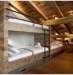 Bunk rooms began as a way to sleep many people in a small space. But with modern day design capabilities, bunk rooms often become the best hang out in the house! We chose a grouping of our favorite designs that definitely prove bunk rooms don't. Modern Bunk Beds, Unique Bunk Beds, Rustic Bunk Beds, Cabin Bunk Beds, Wooden Beds, Bunk Beds Built In, Wooden Tables, Bunk Rooms, Chalet Style
