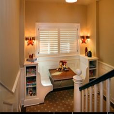 Cute Reading Nook on a stair landing - Staircase - contemporary - staircase - grand rapids - Visbeen Associates, Inc. Banquettes, Staircase Contemporary, Stair Landing, Ideas Hogar, Built In Bookcase, Bookcase Desk, Staircase Design, My New Room, My Dream Home