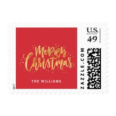 Gold Merry Christmas Holiday Postage - christmas cards merry xmas family party holidays cyo diy greeting card