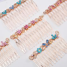 >> Click to Buy << Flower Crystal Rhinestone Hair Comb Bridal Hairpin Bow Butterfly Girl Gold Jewelry Brush Clip Barrette Wedding Hair Accessories #Affiliate