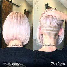 "shornnape: "" @kamistudiollc #bobundercut #bobcut #bob #bobbedhair #undercut #hairtattoo #undercutgirls #hairdesign #behindthechair #shavedpattern #tattoohair #hairart #napeshave #pastelhair..."