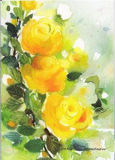 Minna Immonen Finnish illustrator Watercolor Rose, Watercolor Paintings, Watercolors, Tattoo Watercolor, Art Nouveau, Flower Drawing Images, Inspiration Art, Rose Art, Flower Wallpaper