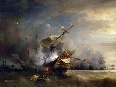 Naval Combat off Cape Lizard in Cornwall, 21 October 1707 - Jean Antoine Theodore de Gudin - Canvas Artwork Ile D Aix, A4 Poster, Poster Prints, Luis Xiv, Ship Paintings, Saint Louis, Virtual Art, Nautical Art, Fine Art Prints