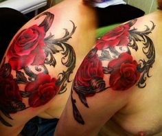 shoulder tattoo ideas roses Shoulder Tattoo Ideas for Men