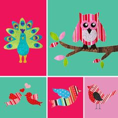 Bird Applique Patterns | GIRLS Applique Patterns | YouCanMakeThis.com