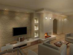 Render camini moderni (50) Modern Fireplace, Living Room With Fireplace, Living Room Decor, Day Room, Inside Home, Love Home, Home And Living, Diy Home Decor, Sweet Home