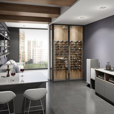 Beautiful and luxurious glass wine cellar installed in a condo. The Wine Square offers you the perfect solution for small spaces or smaller collections. Discover our wine cellar options by visiting our website. Wine Cellar Modern, Glass Wine Cellar, Home Wine Cellars, Wine Cellar Design, Diy Home Bar, Home Bar Designs, Wine Wall, Unique Wall Decor, Contemporary Home Decor
