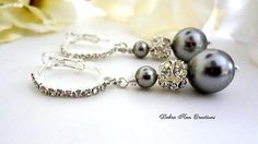 Swarovski Grey Pearl Crystal Earrings Grey by DebraAnnCreations