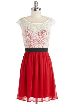 Shortcake Story Dress in Red. Dressed in the lace-covered bodice of this red frock, you serve up shortcake sundaes to your pals as your sheer skirt overlay flutters. #red #prom #modcloth