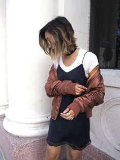 ROSE GOLD BOMBER   || Unconscious Style @shhtephs  Tessa Satin MA1 Rose Gold Bomber – BooHoo | Lingerie Slip Dress – Mango | White T-Shirt – Reve En Vert | Black Heeled Ankle Boots – Dolce Vita | Folding Round Sunglasses (Rose Gold) – Ray-Ban | Soir N06 Mesh Watch – Nicole Vienna