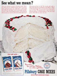 Vintage Christmas Cake. Christmas Meals, Christmas Scrapbook, Christmas Kitchen, Retro Christmas, Christmas Goodies, Retro Food, Retro Ads, Vintage Advertisements, Retro Recipes