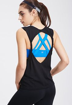 Twisted Open-Back Muscle Tee | FOREVER21 - 2000135570 This is super cute and would be great for summer runs or yoga.