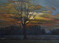 Zachód drzewo, obraz olejny na płótnie Anna Michałowska