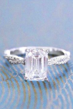 Eye-Catching Emerald Cut Engagement Rings ❤️ See more: http://www.weddingforward.com/emerald-cut-engagement-rings/ #weddings