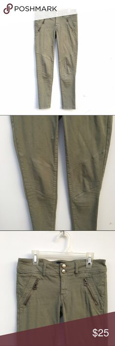Light Olive Moto Biker Pants Light olive green pants with patterning on knees and above back pockets. Zippers on front. Double button fly. American Eagle Outfitters Pants Skinny