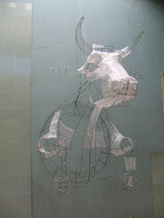 Polly Verity, Cow, papier et métal, installation Polyscène 7 Sculpture Lessons, Sculpture Projects, Art Projects, Sculptures Céramiques, Sculpture Art, Sculpture Ideas, Mobiles Art, Architecture Origami, Art Du Fil
