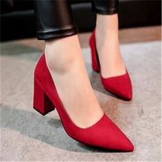 Pointed Toe Solid High Block Heels Evening Dress Prom Pumps Shoes Women's Black