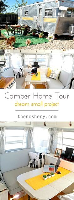 Little Camper Home Tour | Come and see a tour of our small camper home. See how we optimized our small space and made it home. | TheNoshery.com - @thenosher y #dreamsmallproject