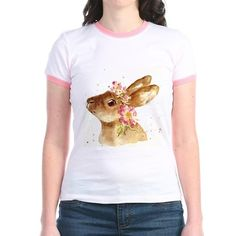 BUNNY WITH FLORAL HAT T