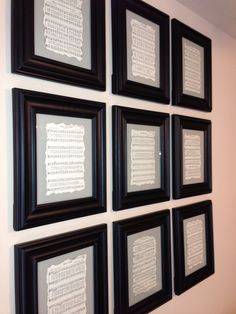 These are my favorite hymns out of an old hymn book. I burned the edges and framed them. Great decoration for a musician.