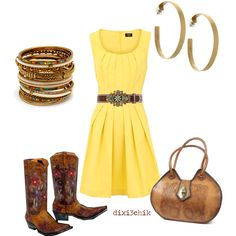 Yellow dress (KK's closet!), cowboy boots, brown accessories