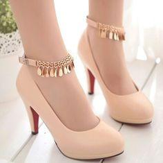 Flesh ankle strap heels