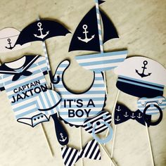Nautical Baby Shower Photo Booth Props Personalized - Printable or Printed. Set of 13