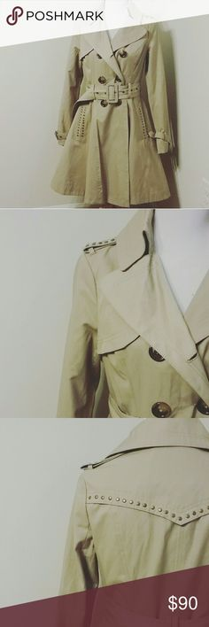 Miss Sixty studded trench coat Light/midweight, awesome condition!!! Such a cool jacket. Easy care, cotton & polyester. Miss Sixty Jackets & Coats Trench Coats
