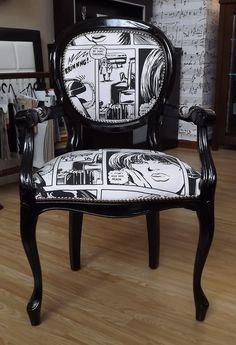 Krzesło Komiks!!! Coś fantastycznego! Jak zobaczyłam, zakochałam się od razu! Chcę takie! Po kolejnej wizycie w Centrum Mega Meble w Warszawie, znów wyjdę z pustą kartą i portfelem :D   #MegaMeble #krzeslo #design #meble #Warszawa