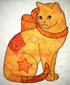Patch Cats, design by Darcy Ashton, machine applique pattern by Anna