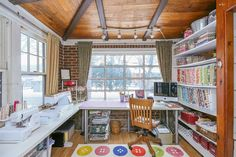 The Cottage Mama Sewing Studio. Check out this sewing space! - The Cottage Mama Sewing Studio. Check out this sewing space! Sewing Room Design, Sewing Spaces, My Sewing Room, Sewing Studio, Vintage Sewing Rooms, Sewing Room Organization, Craft Room Storage, Craft Rooms, Organization Ideas