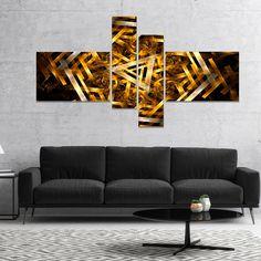 Designart 'Fractal 3D Yellowish Hexagon' Abstract Canvas Art Print