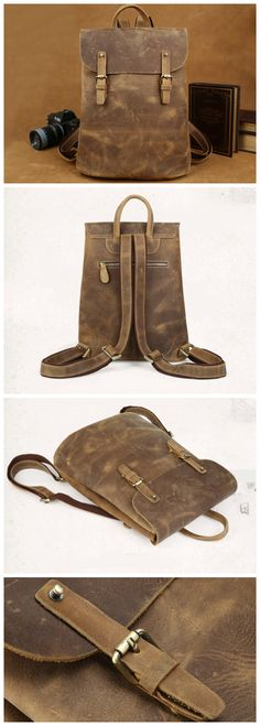 Handmade Leather Backpack /Vintage Leather Macbook Briefcase Leather School Bag Backpack (C142) - Thumbnail 4