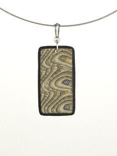 Polymer Clay Jewelry - Mokume Gane Necklace - Pendant - Art Jewelry - Artisan Jewelry - Clay Jewelry - Silver Jewelry. $22.00, via Etsy.