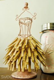 Clothes Pin DIY Storage: SWEET HAUTE laundry room decor ideas with wire mannequin dress form that functions as storage for your clothes pins. Pin now...read later!
