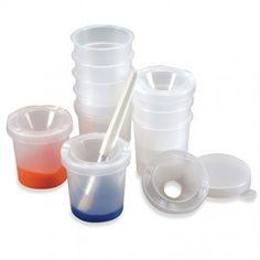 Spill proof paint pots.
