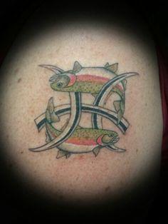 Pices zodiac symbol with a colorado twist - rainbow trout - Theoretical Ink custom tattoo artist Joy DeHerrera