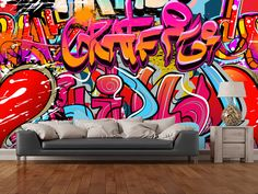 Hip Hop Graffiti wall mural room setting
